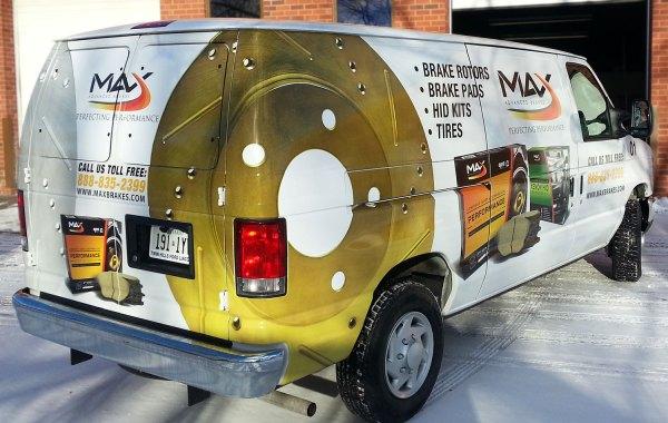Large van with vinyl wrap