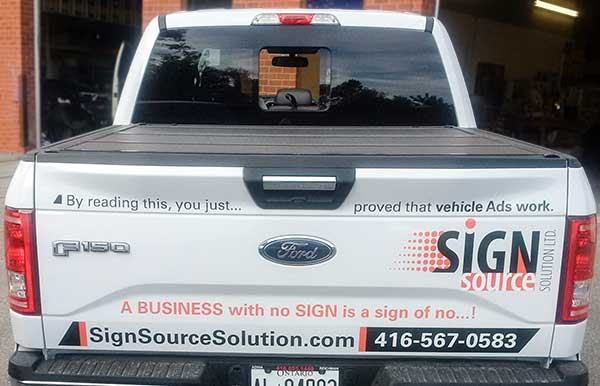 Rear vinyl advertising wrap for pickup truck in vaughan