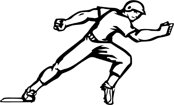 Baseball base runner action sports sticker. Personalize on
