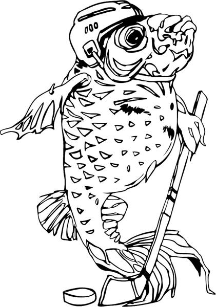 Big fish hockey player mascot action sports decal