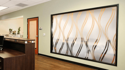 Etched vinyl for privacy on conference room glass