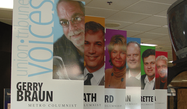 Hanging signs printed on gator board