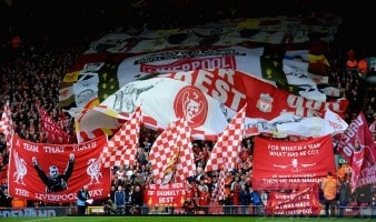 Liverpool Soccer fans with flags