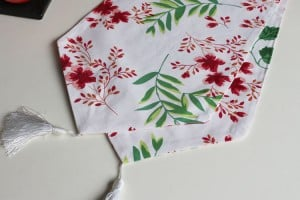 custom printed table runner with flowers design