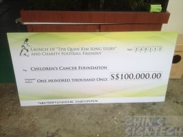 Mock cheque pay to Children Cancer Foundation