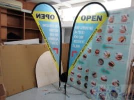 2.2m Small size Teardrop flying banner Single sided printing on 110 gsm for Vehicle Workshop