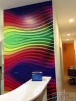 Rainbow design on wall with sticker pasting