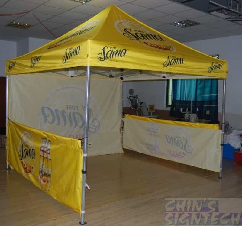 3x3 pop out tent with full back wall and 2 half wall printing