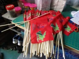 80 pieces of size 7 (30 x 20cm) CSC flags with 60 cm wooden pole
