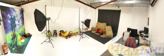 studio with fabric photography backdrop