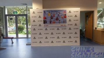 Backdrop for Nanyang poly MOU and opening ceremony of Bodywatch Gym with hang poster