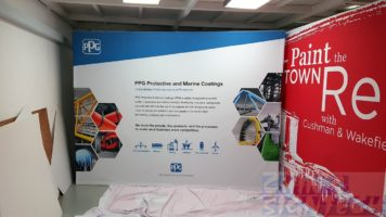3 x 2.25m Fabric Pop out display - Straight for PPG Industries Exhibition