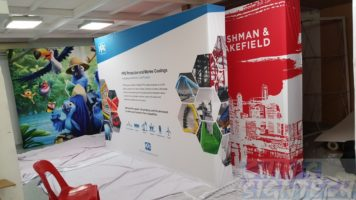 3 x 2.25m Fabric Pop Up display with 2 sides wrapping - Straight for PPG Industries Exhibition