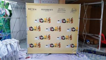 Portable Telescopic Backdrop stand with 2 x 2m PVC banner