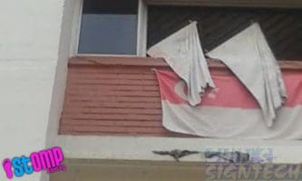 Faded Singapore flag hand at HDB