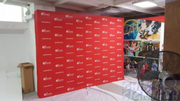 3.25 x 2.25m Fabric Pop Up display with step and repeat logo