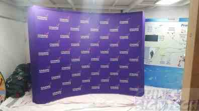 3 x 2.25m Curve Fabric Pop up Display for Changi Foundation