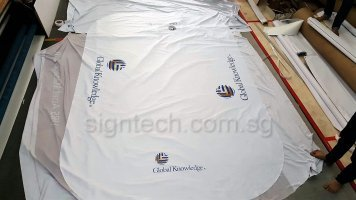 6ft White table cloth for Global Knowledge