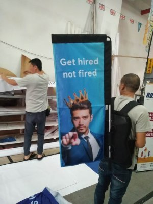 Rectangle backpack banner- get hired not fired