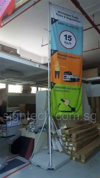 5m water base flag pole for safety branding - revise side