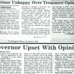 governor unhappy over treasurer
