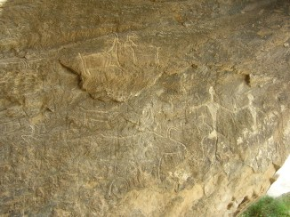 Petroglyphs in the National Park Gobustan , Azerbaijan