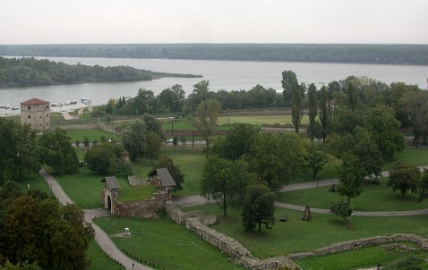 Confluence of Sava and Danube rivers