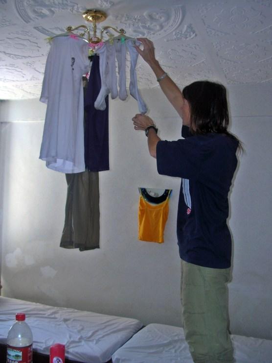 doing laundry in Tibet. Backpacks and Bra Straps
