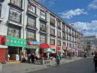 streets of Tibet. Backpacks and Bra Straps