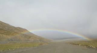Rainbow on the Friendship Highway, China, Backpacks and Bra Straps