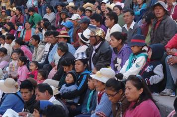 the croud at the Takanakuy Fight, Urubamba Peru