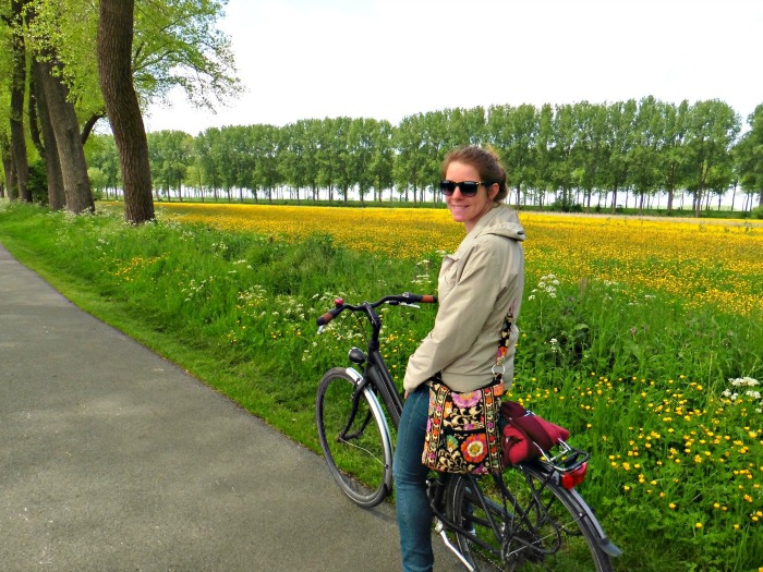 Cycling through the countryside in Damme, Belgium