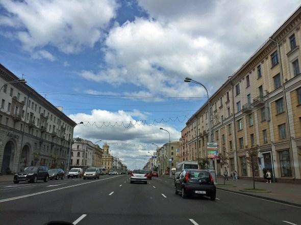 Very wide streets throughout Minsk. Belarus