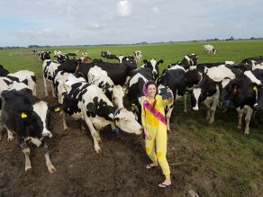 Savannah Grace with cows