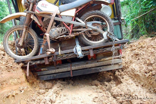 Fighting our way through the mud in Cameroon. Can't wait to explore these jungles by motorcycle