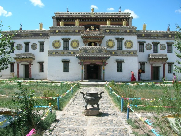 Erdene Zuu monastery, Kharkorin. Baagii explained that Buddhism was brought to Mongolia by the Chinese when they ruled the country.