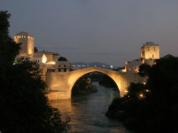 Stari Most by night. Bosnia