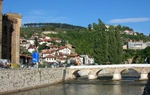 Miljacka River with lovely bridges. Sarajevo, Bosnia