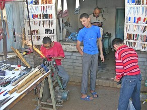 Knife sharpening shop, Kashgar, China