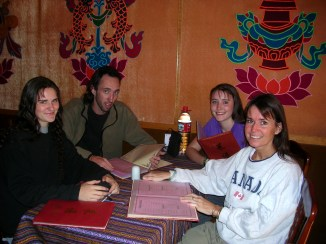 lunch in Tibet. Backpacks and Bra Straps