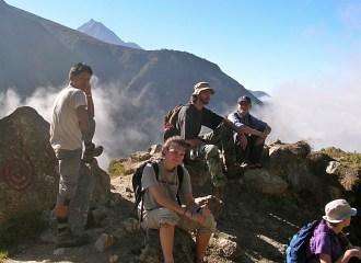 Himalayas, Nepal. Backpacks and Bra Straps