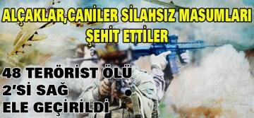 PKK 13 SİVİLİ ŞEHİT ETTİ! 48 TERÖRİST ETKİSİZ HALE GETİRİLDİ, 2 TERÖRİST SAĞ OLARAK ELE GEÇİRİLDİ