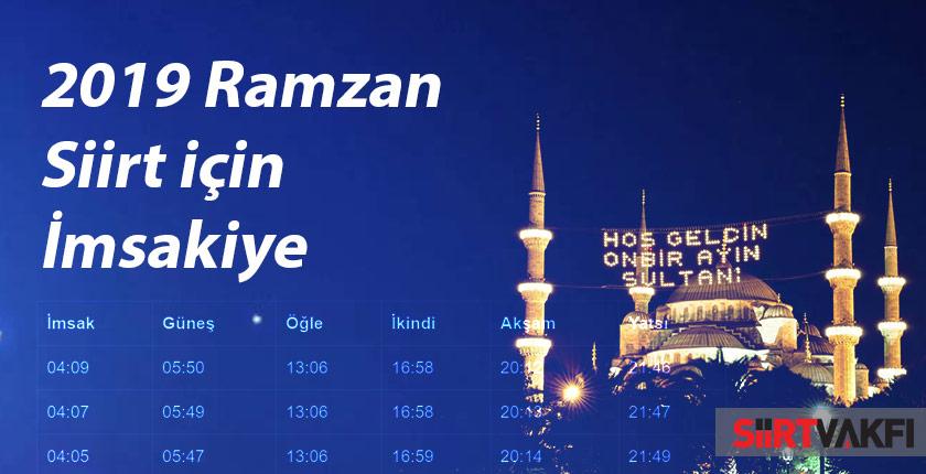 2019 Ramazan Siirt İçin İmsakiye