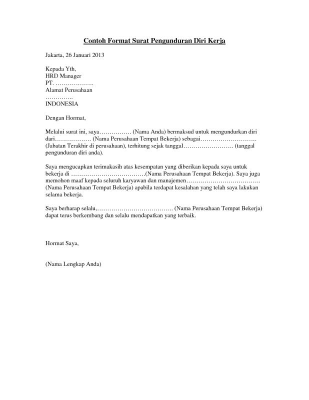 Contoh suratpengunduran diri kerja yang baik dan sopan