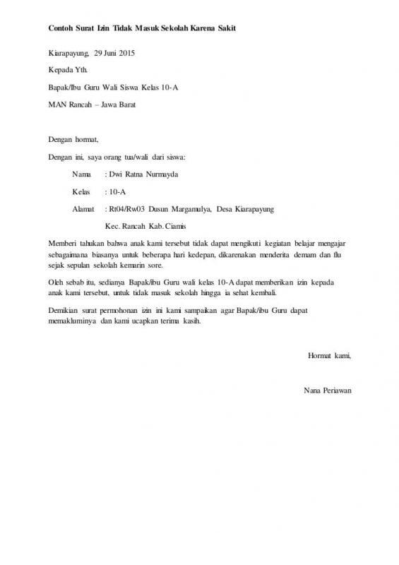 11 Contoh Surat Izin Tidak Masuk Sekolah Dan Cuti Kerja Lengkap
