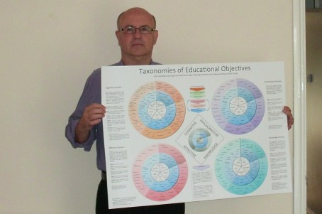 Simon holding the Taxonomy Poster
