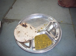 Simple food consisting of Chapatis and Dal