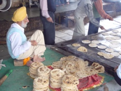Chapatis being made