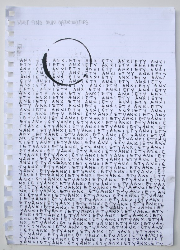 Must Make Own Opportunities, 2015, screen print and ink on notebook page, 29.7 x 21cm