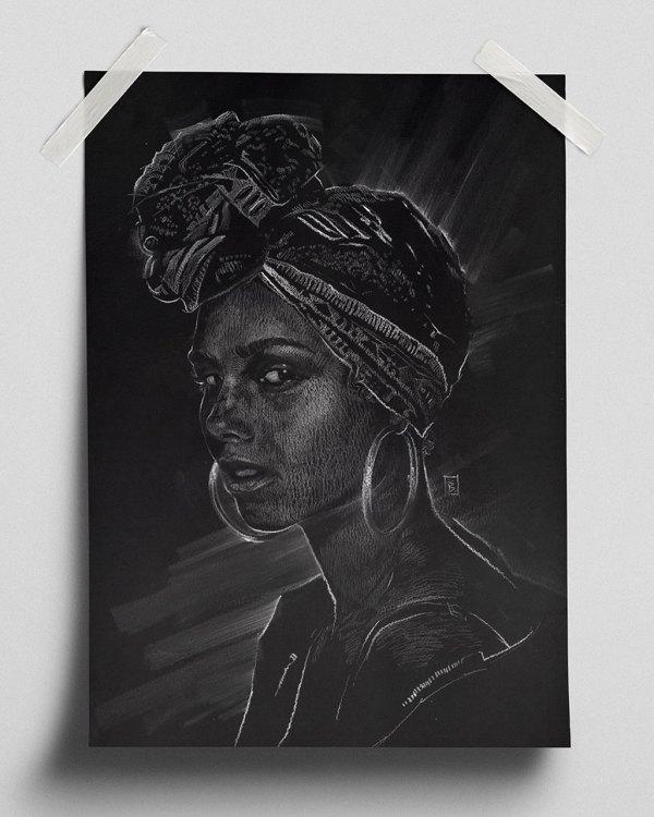Alicia Keys - Fine Art Print (Gliceé)